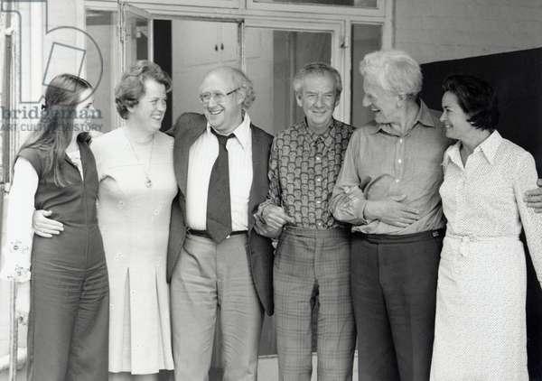 Benjamin Britten with Elena Rostropovich, Rita Thompson, Mstislav Rostropovich, Benjamin Britten, Peter Pears, Marion Thorpe 1976 at  Aldeburgh