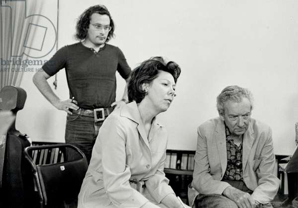Benjamin Britten with Janet Baker & Collin Matthews at Phaedra rehearsal, 1976 English composer, conductor and pianist (1913-1976)