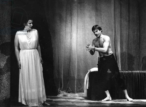 Benjamin Britten 's  opera 'The Rape of Lucretia', 1987 production at Aldeburgh, with Simon Keenlyside as Tarquinius and Anne McWatt as Lucretia