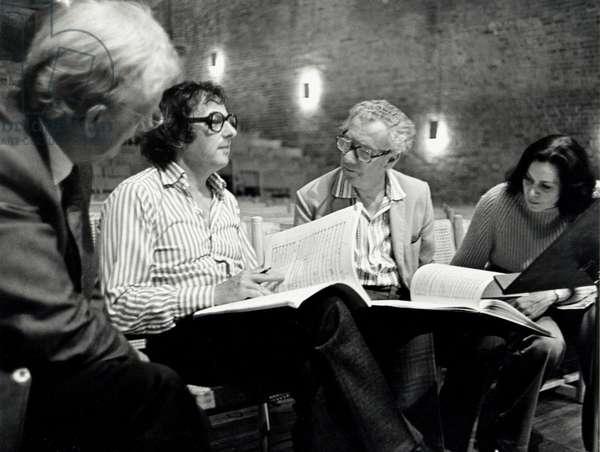 BRITTEN, Benjamin with PREVIN, PEARS & SÖDERSTRÖM At Snape Maltings in 1976