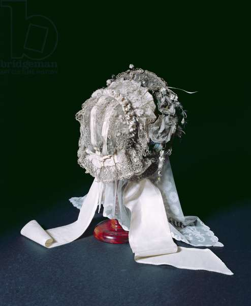 Charlotte Bronte's wedding bonnet and veil (textile and lace)