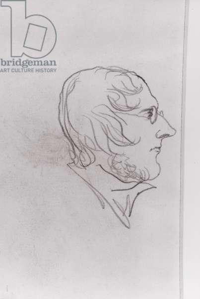 Self portrait in profile (pencil on paper)