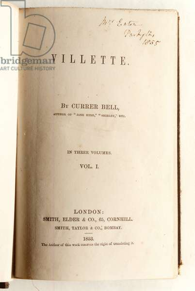 Frontispiece for 'Villette' by Currer Bell, published by Smith, Elder & Co. in 1853 (litho)
