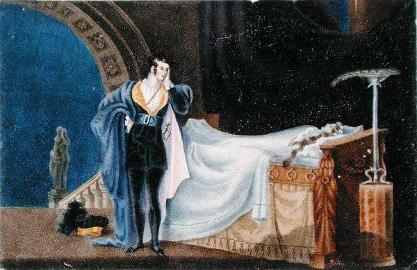 The Atheist viewing the dead body of his Wife, by Charlotte Bronte (1816-55) (litho)