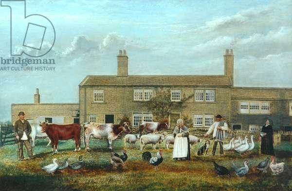 Farmyard scene (oil on canvas)