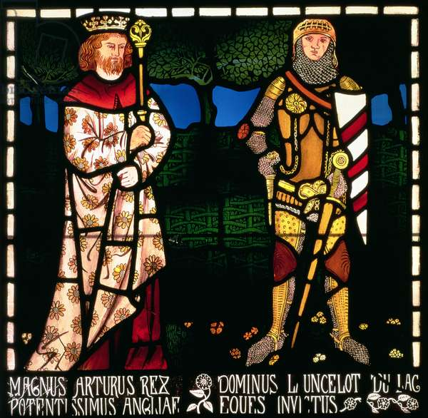King Arthur and Sir Lancelot, 1862 (stained glass)