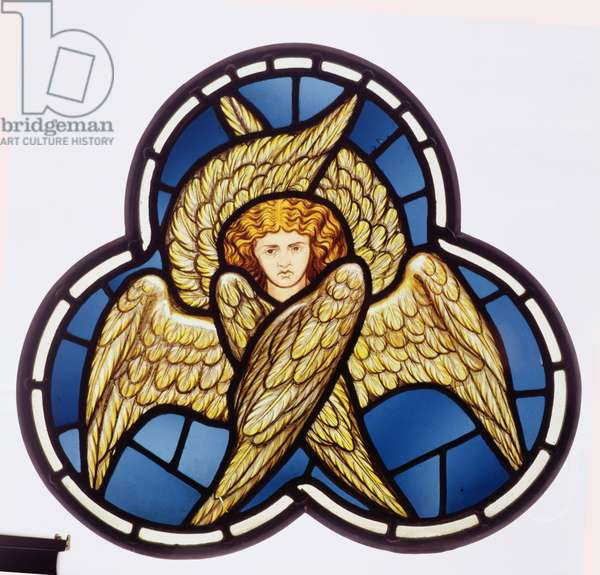Window depicting a many-winged angel, made by the William Morris factory, 1870 (stained glass)
