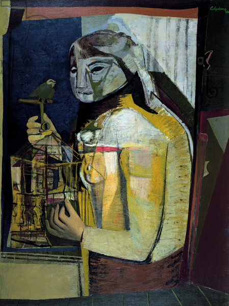 Woman with a Birdcage, c.1946 (oil on canvas)