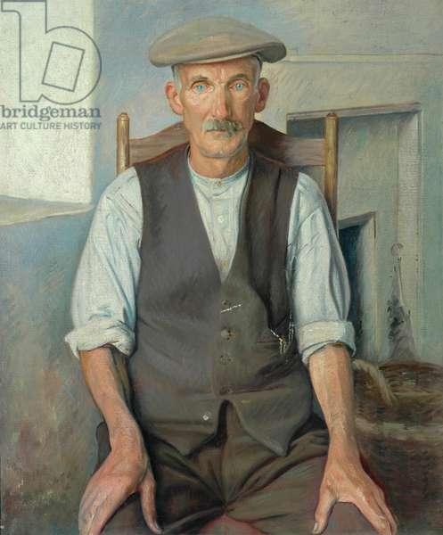 The Old Gardener (oil on canvas)
