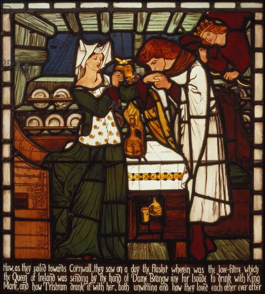 The Love Potion, intended for Isolde the Fair and King Mark of Cornwall, but drunk by Tristan and Isolde the Fair, from 'The Story of Tristan and Isolde', William Morris & Co. (stained glass)