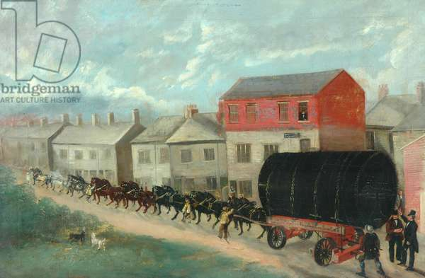 A Mill Boiler Being Transported up Hill on a Dray, 1837-1901 (oil on canvas)