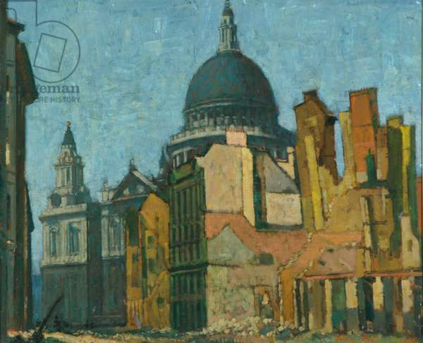 St Paul's and Cannon Street, May, 1941 (oil on canvas)