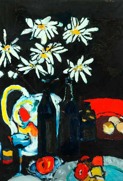 Still Life and White Marguerites, 1957 (oil on canvas)