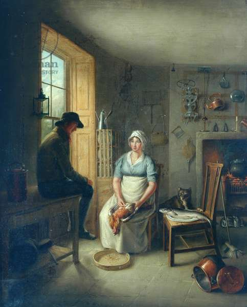 Gamekeeper and Cook (oil on panel)