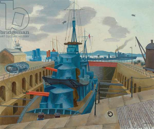 Destroyer in Dry Dock (oil on canvas)