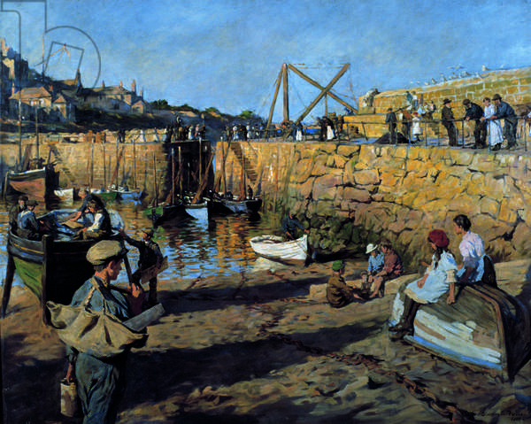 Fitting out, Mousehole Harbour, 1919 (oil on canvas)