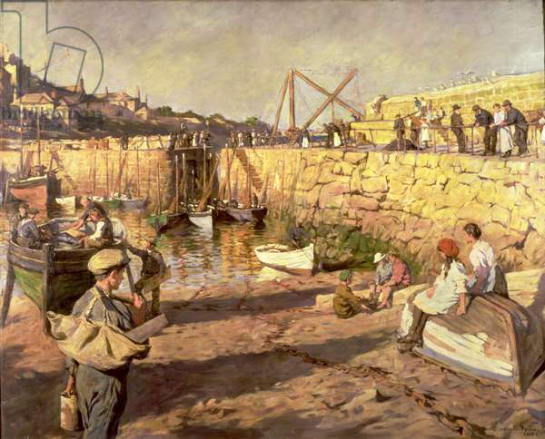 Fitting Out, Mousehole Harbour, 1919