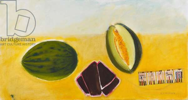 Melon, lacquer dish and Egyptian card, c.2000 (oil on canvas)