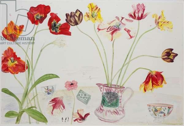 Tulips in a Sunderland Jug, 1988 (w/c on paper)