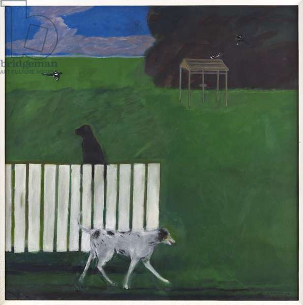 Dogs and magpies in a garden, 1974 (oil on canvas)