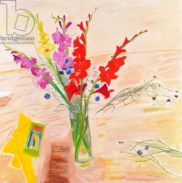 Still life with gladioli, 1997 (oil on canvas)