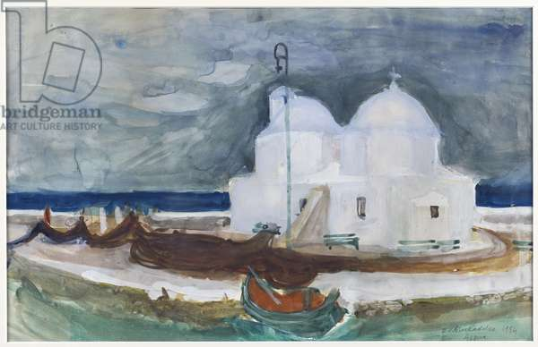 Church at Aegina, 1954 (w/c on paper)