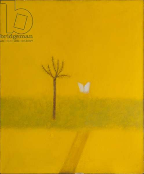 White Butterfly, Yellow Painting, 1965 (oil on canvas)
