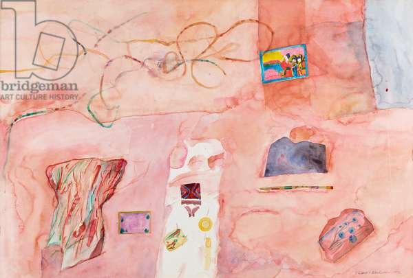 Still life, pink table with necklace, 1972 (w/c on paper)