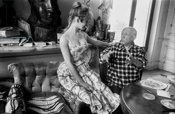Brigitte Bardot and Pablo Picasso, Cannes Film Festival, 1956 (b/w photo)