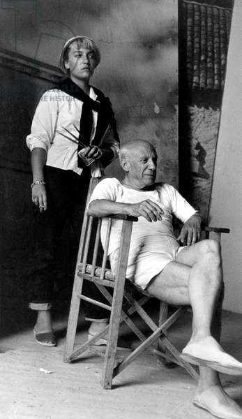 Pablo Picasso and Francoise Gilot on set of film Le Mystere Picasso, 1955