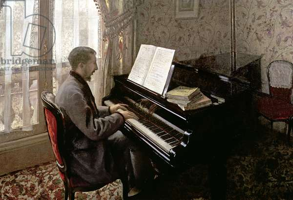 Young Man Playing the Piano, 1876 (oil on canvas)