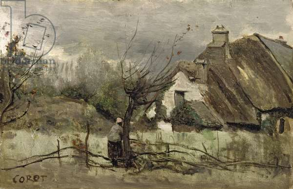 Thatched cottage in Picardie (oil on canvas)