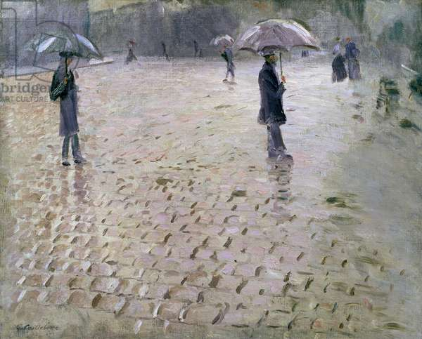 Study for a Paris Street, Rainy Day, 1877 (oil on canvas)