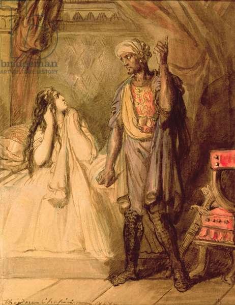 Desdemona and Othello, 1847 (gouache)