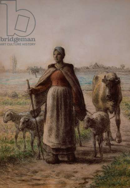 Peasant leading her cow and sheep to the fields, 1863 (pastel)