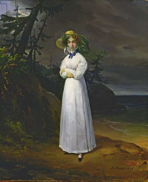Young girl in a romantic landscape, 1825 (oil on canvas)