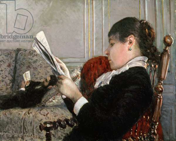 Interior, Woman Reading, 1880 (oil on canvas)