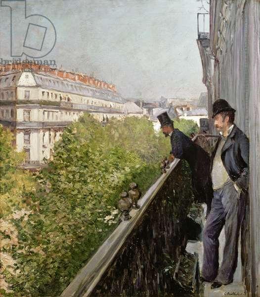 A Balcony, Boulevard Haussmann, 1880 (oil on canvas)