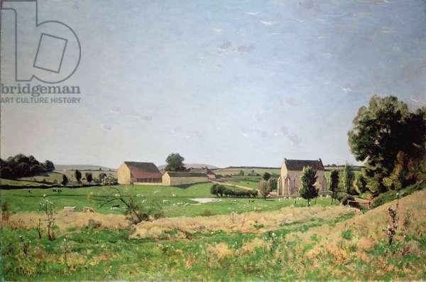Landscape in Saulce, Yonne (oil on canvas)
