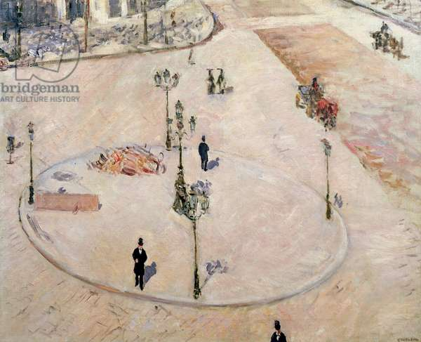 Traffic Island on Boulevard Haussmann, 1880 (oil on canvas)