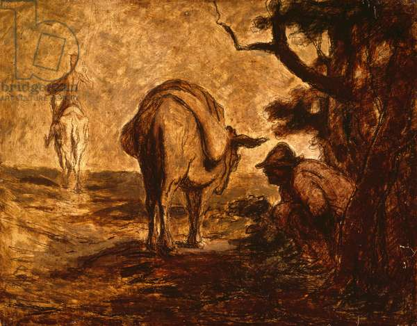 Don Quixote and Sancho Panza relieving himself, c. 1855 (oil on panel)