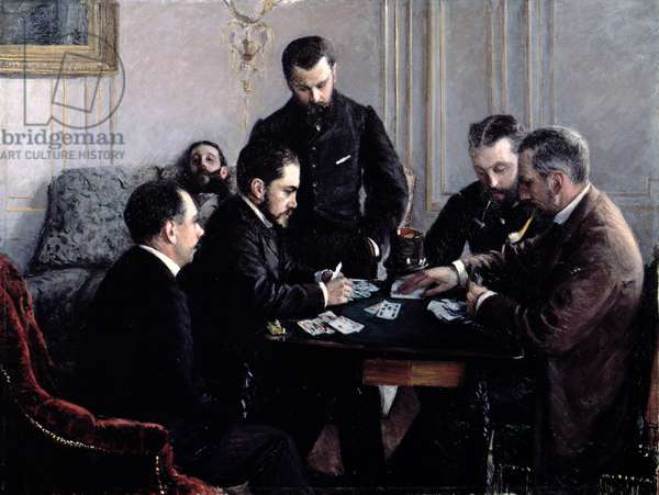 The Bezique Game, 1881 (oil on canvas)