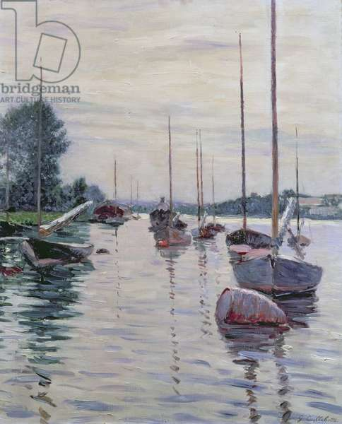 Boats Anchored on the Seine (oil on canvas)