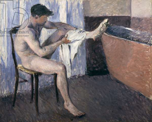 Man drying his leg (oil on canvas)