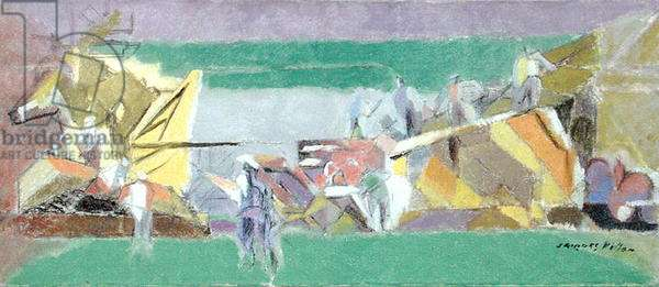 Threshing in Normandy (oil on canvas)