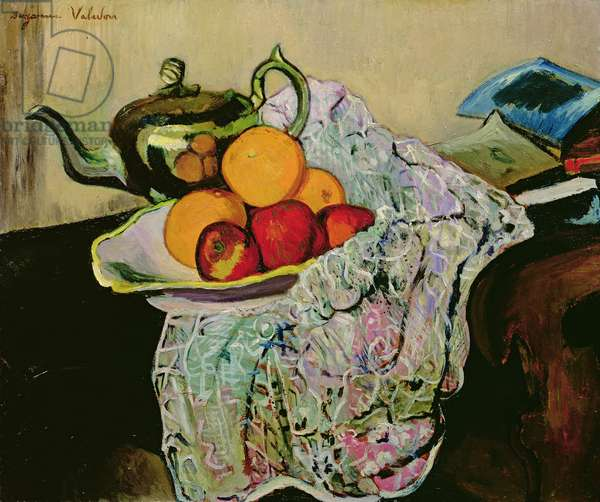 Still Life with Teapot and Fruit (oil on canvas)