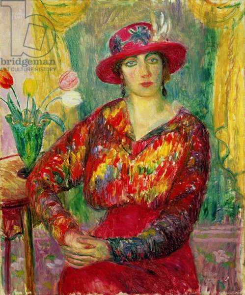 Girl in a Red Dress and Hat (oil on canvas)