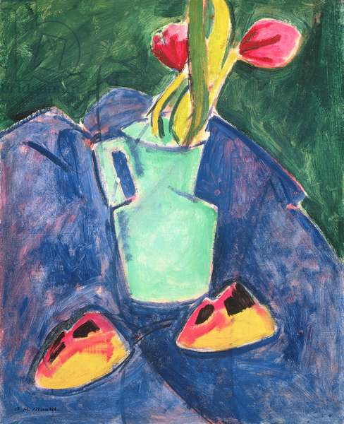 Flowers in a Green Vase on Purple Cloth (oil on canvas)