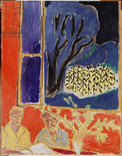 Two Girls in a Coral Interior, Blue Garden, 1947 (oil on canvas)