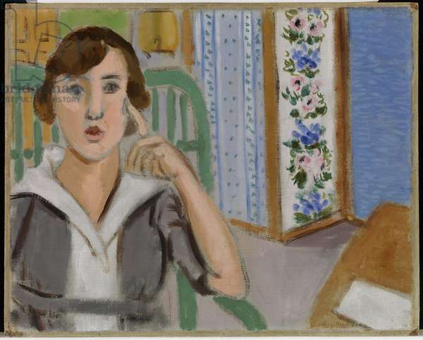 Girl and Screen, 1919 (oil on canvas)